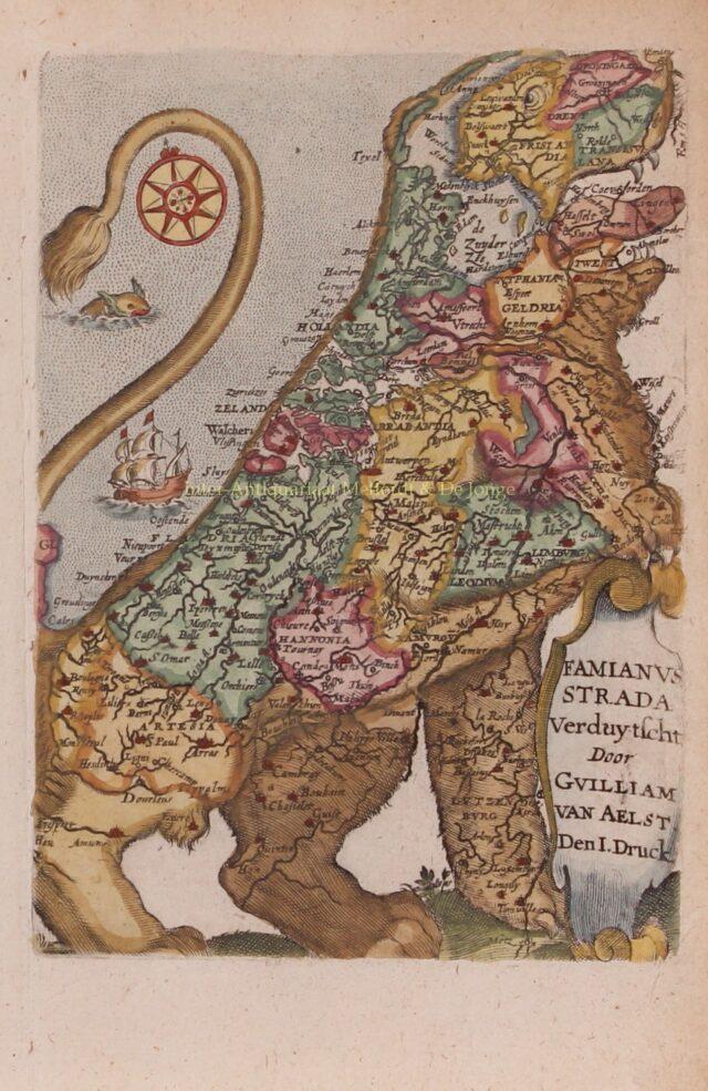 17e-eeuwse kaart in de vorm van een leeuw