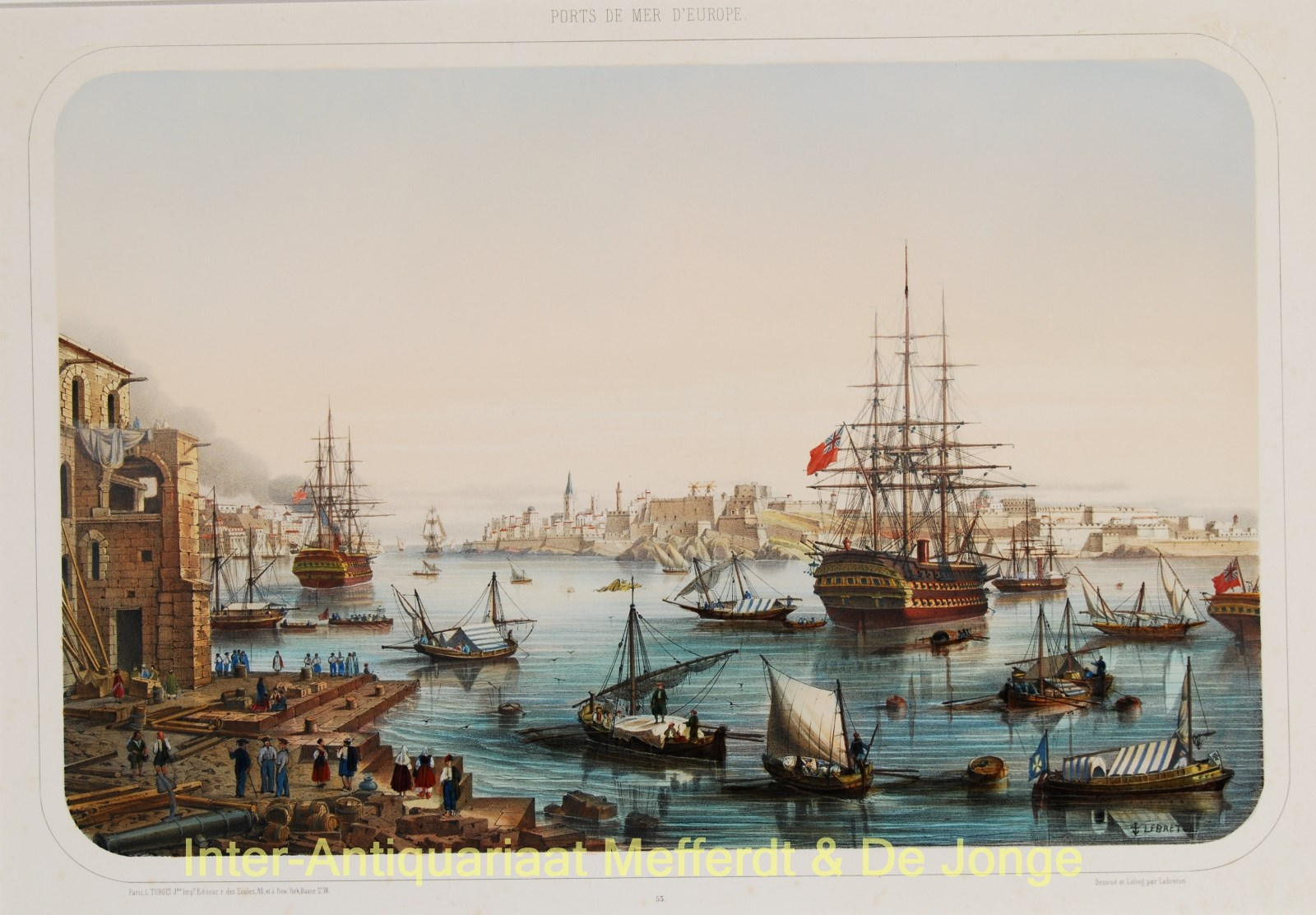 Malta Grand Harbour antique lithograph