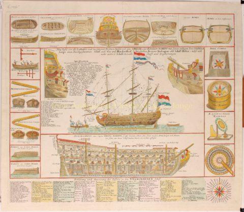 Nederlandse oorlogsbodem, man-of-war – Seutter, ca. 1740