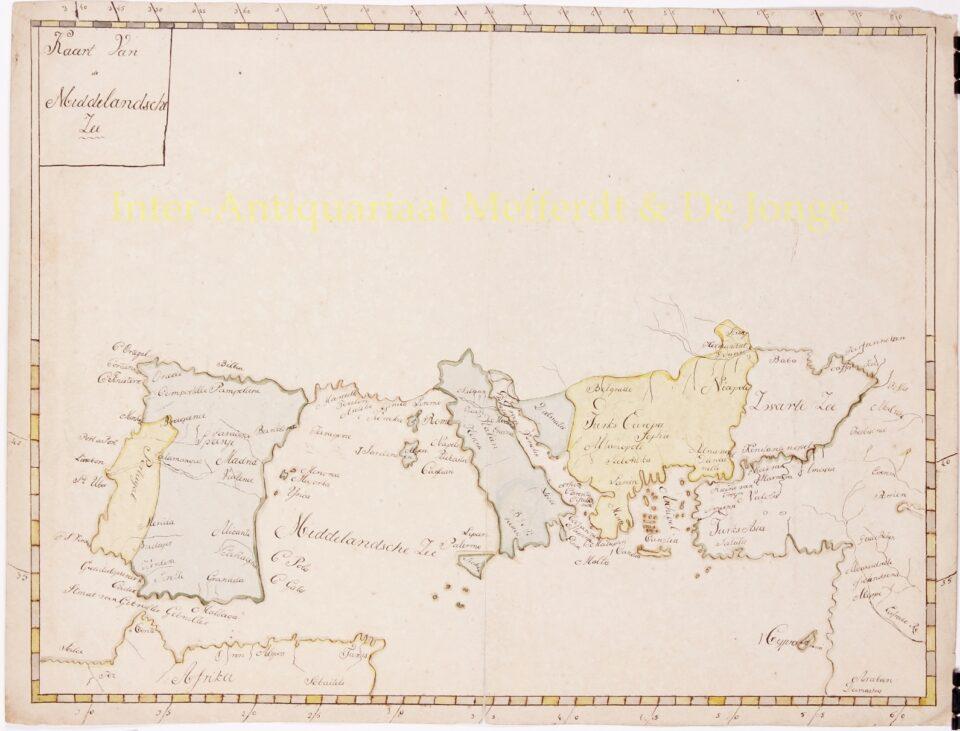 Manuscript map Mediterranean - 19th century