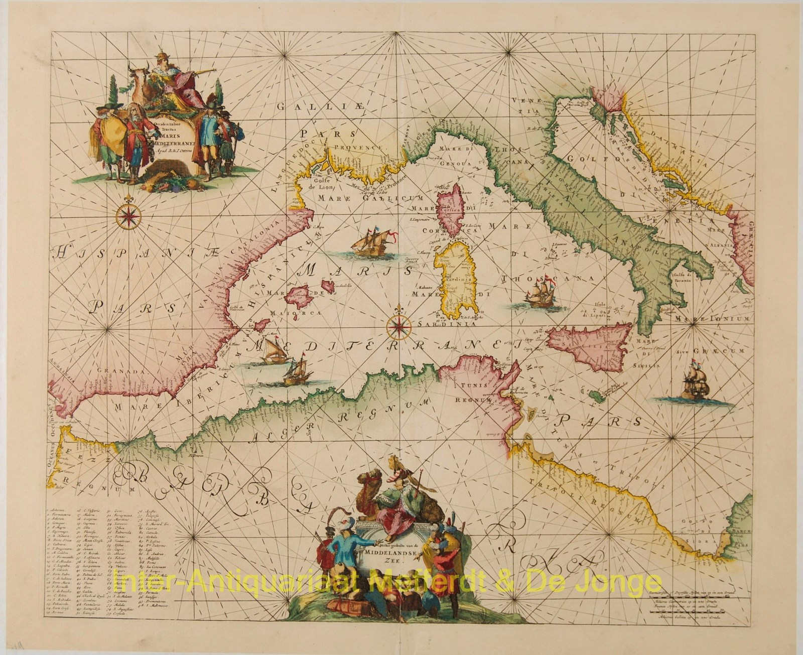 Mediterranean (western), antique sea chart - Ottens