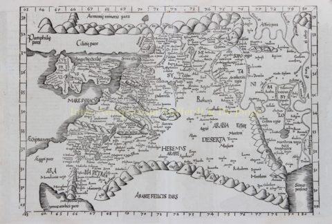 Middle East – Laurent Fries/Johannes Grüninger after Claudius Ptolomeus, 1535
