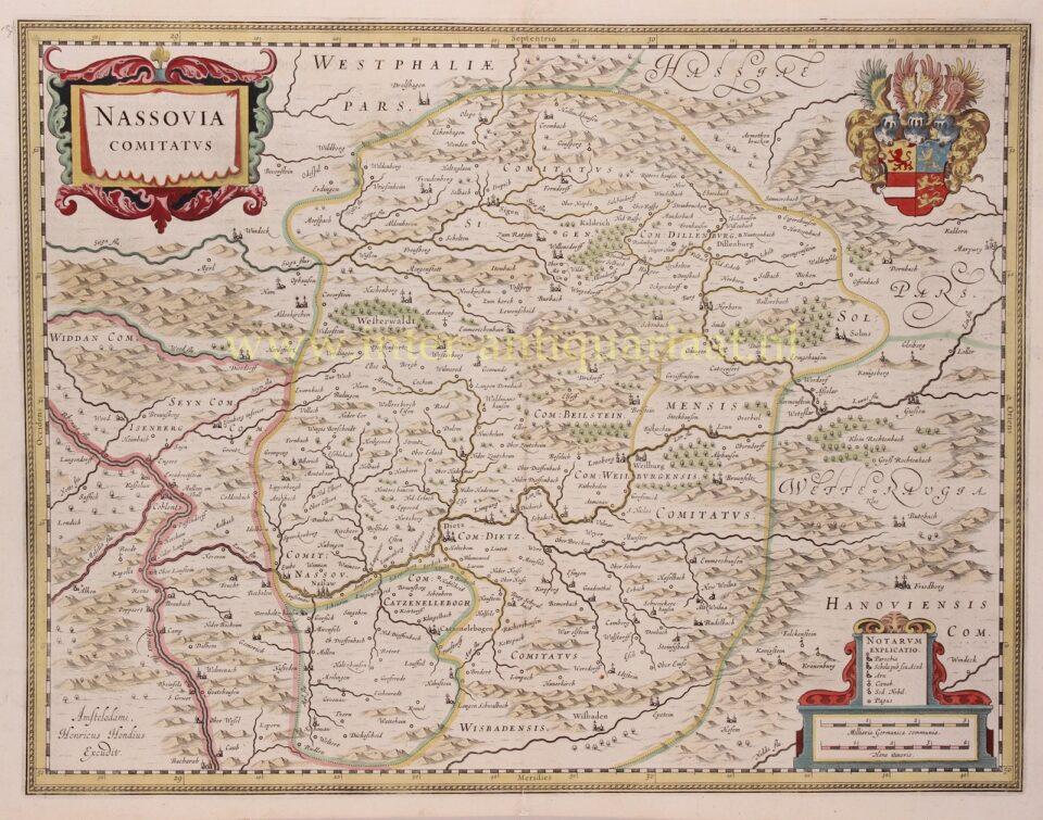oude kaart graafschap Nassau 17e-eeuw
