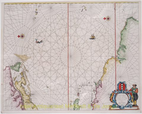 Americas, Caribbean sea chart – Theunis Jacobsz Lootsman, 1666