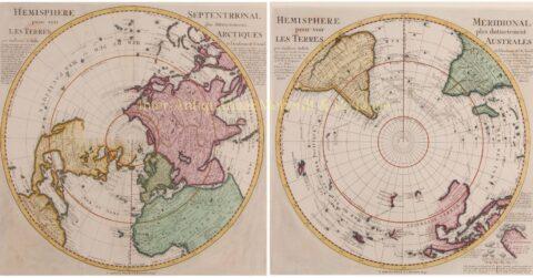 Noordelijk en Zuidelijk Halfrond – Guillaume De L'Isle + Reinier en Josua Ottens, na 1739