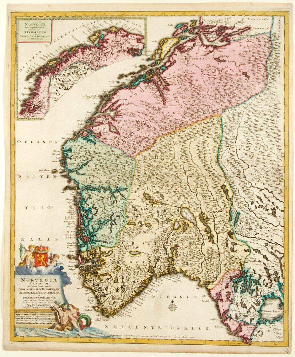 Norway antique map - Danckerts