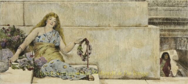 On the Steps of the Capitol (The Garland Seller) - Alma-Tadema