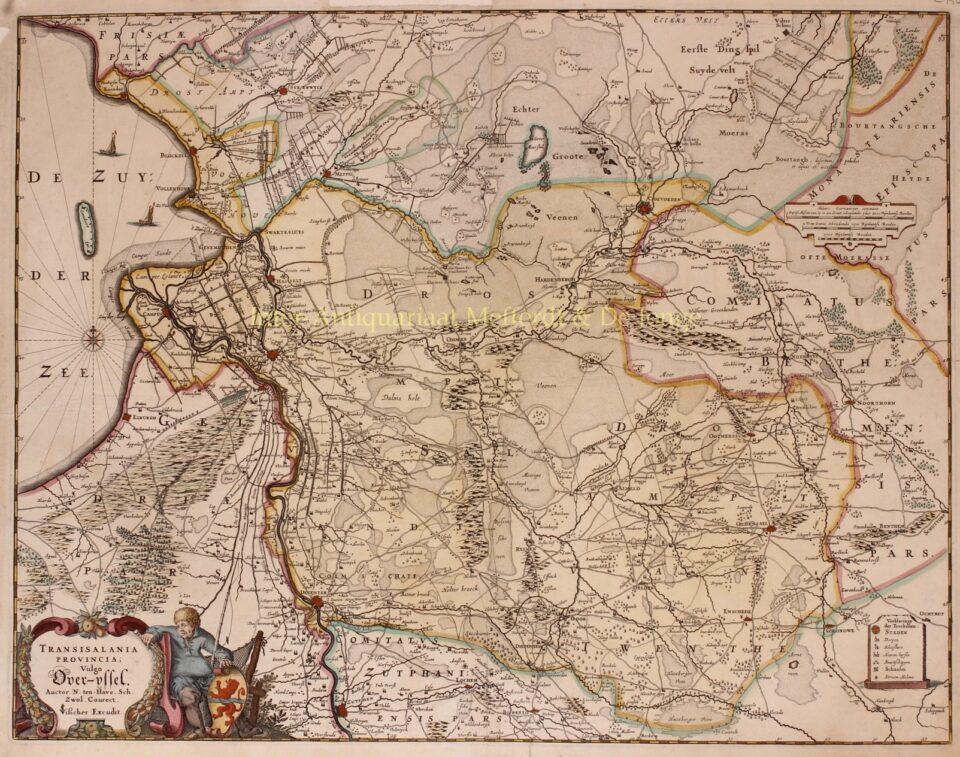 17e-eeuwse kaart van Overijssel door Claes Jansz. Visscher