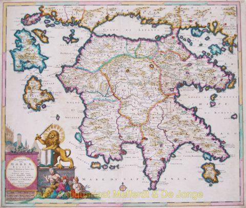 Peleponnesos antique map – Danckerts, 1684