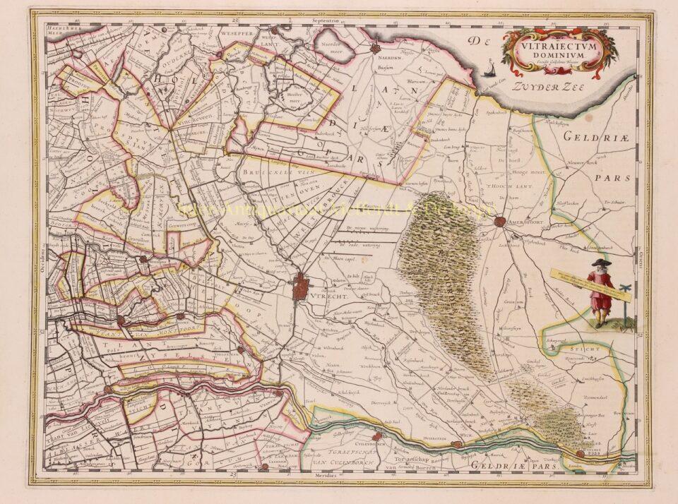 oude kaart van provincie Utrecht en Het Gooi