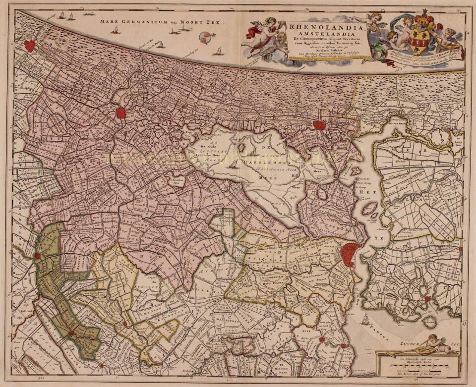 18e-eeuwse kaart van Rijenalnd en Amstelland