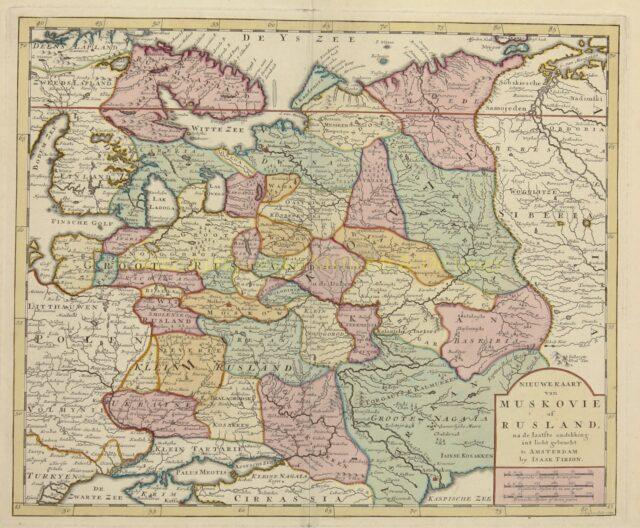 antieke kaart Rusland - Isaak Tirion