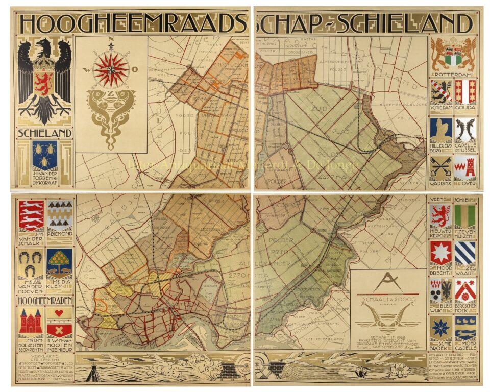antieke Art Deco Wandkaart van Schieland