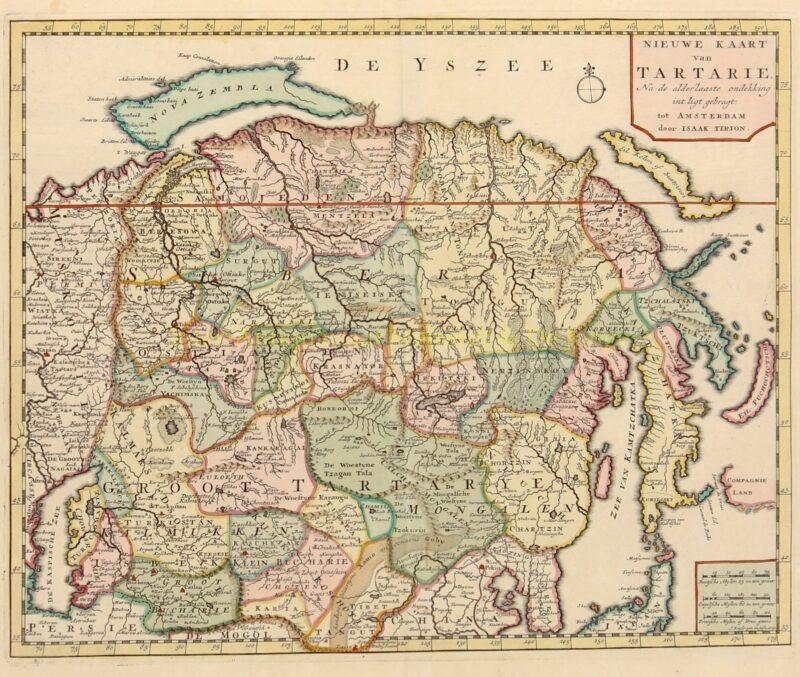 Rusland, Siberië, Nova Zembla – Isaak Tirion, 1740