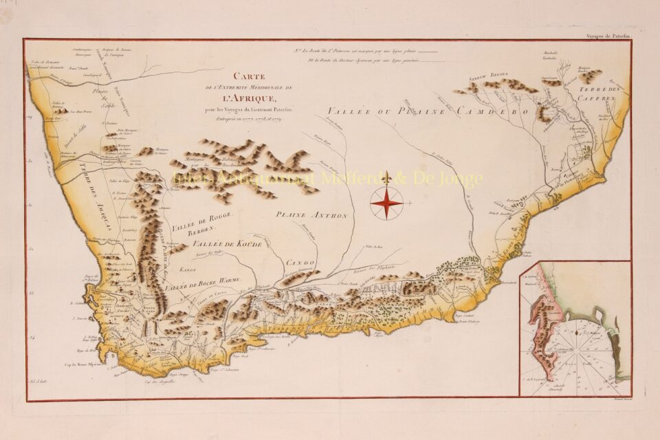 detailed 18th century map of South Arica with the travels of William Paterson