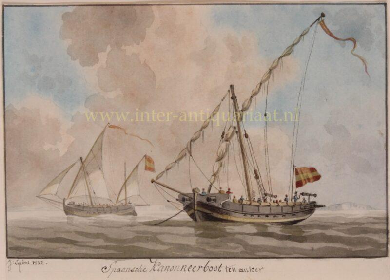 Spaanse kanonneerboot – Joseph Sipkes, 1832