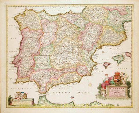 Spain, Portugal map – Visscher, 1680