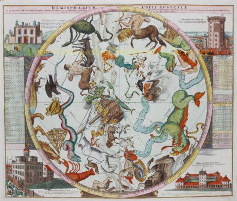 Hemelkaart sterrenbeelden – Homann, Doppelmayr, 1742/48