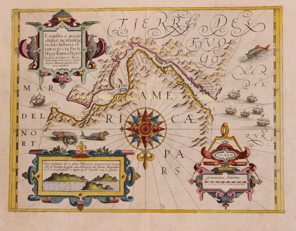 17th century map Strait of Magellan
