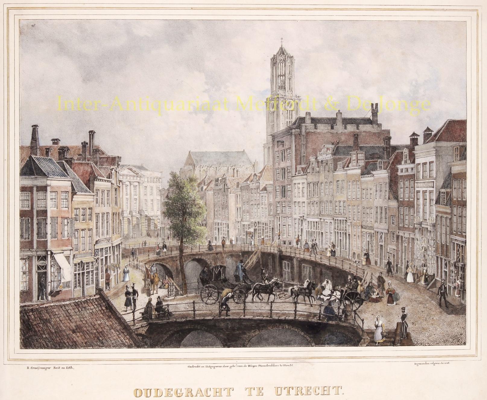 Oude Botanische Prenten : Utrecht oudegracht antieke prent lithografieutrecht oudegracht
