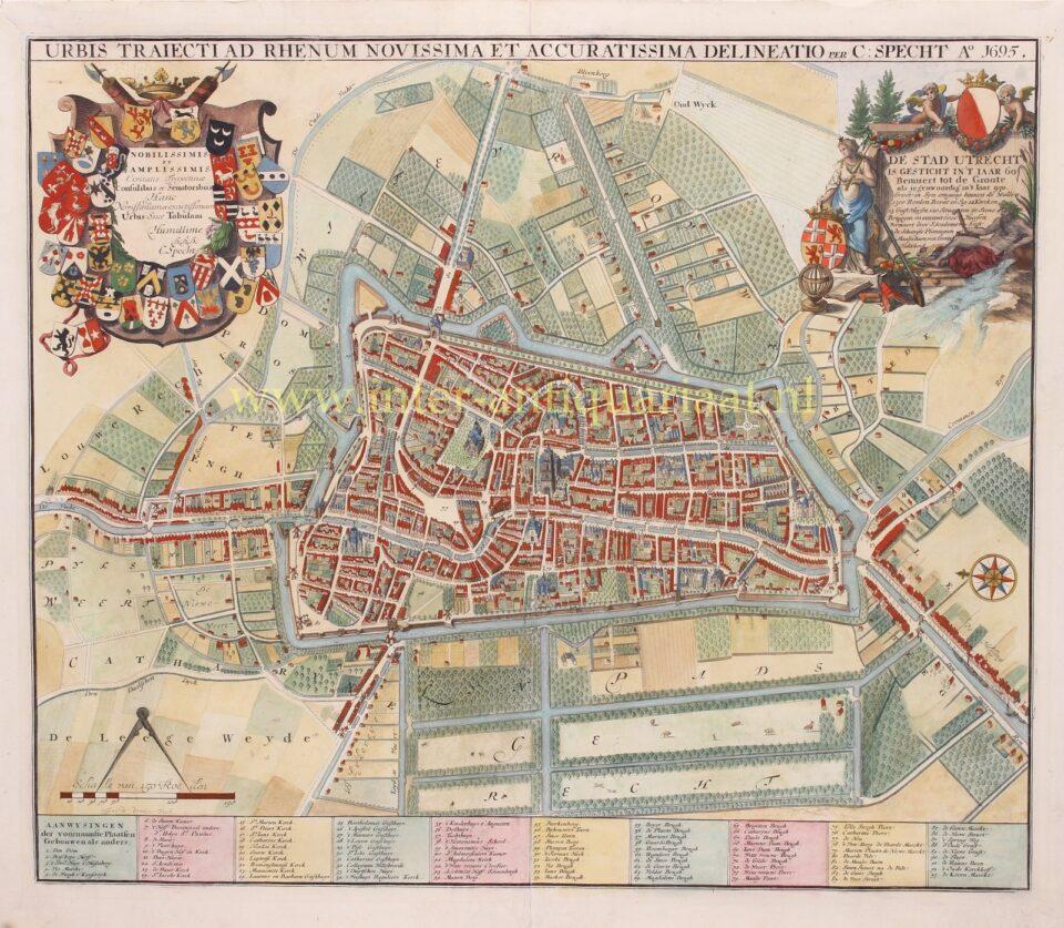 oude kaart van Utrecht begin 18e-eeuw
