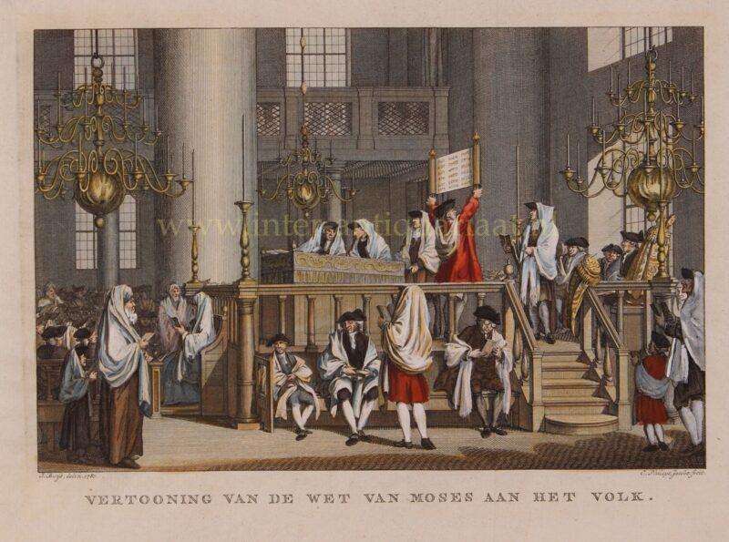 Sjabbat in de Portugese synagoge – Caspar Philips Jacobsz. naar Jacobus Buys, 1781-1791
