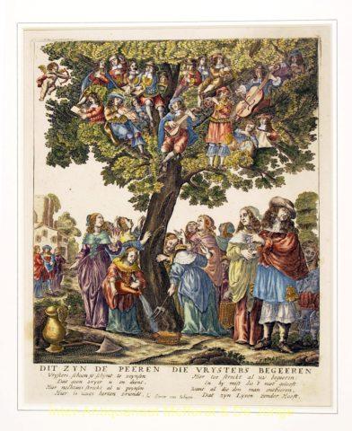 Volksprent – Vrijstersboom, 1680