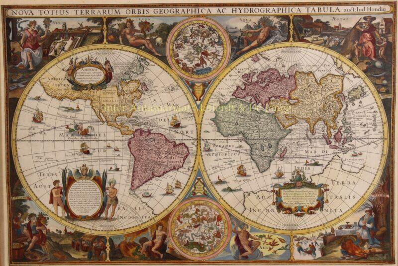 Wereldkaart – Melchior Tavernier naar Jodocus Hondius, 1636