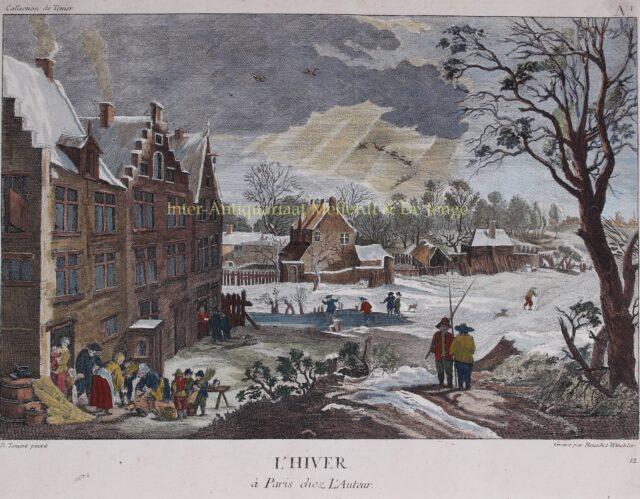 winterlandschap 18e-eeuwse gravure naar David Teniers