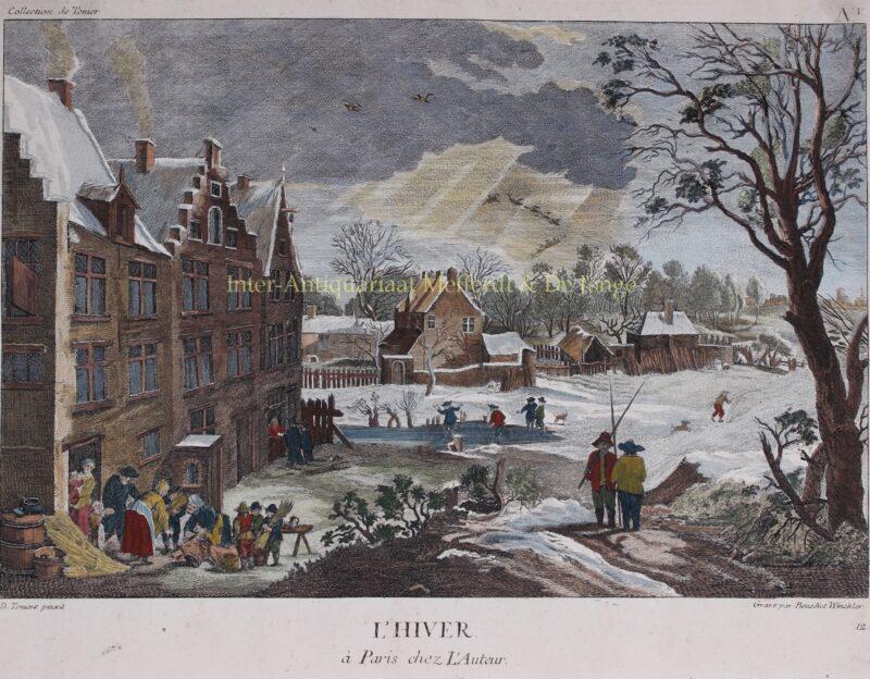 Winterlandschap – Benedict Winckler naar David Teniers, 1760