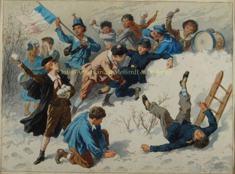 Sneeuwballengevecht – Frédéric Théodore Lix, 19e-eeuw