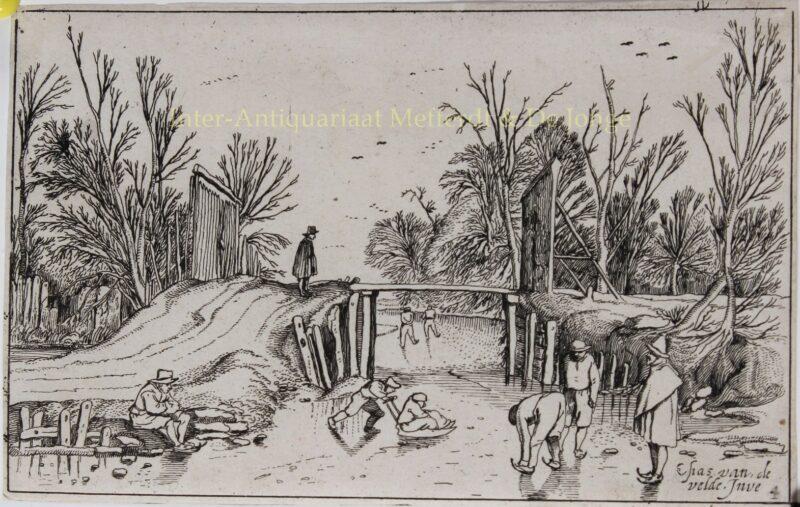 Winterlandschap, naar Esaias van de Velde (1591-1630)