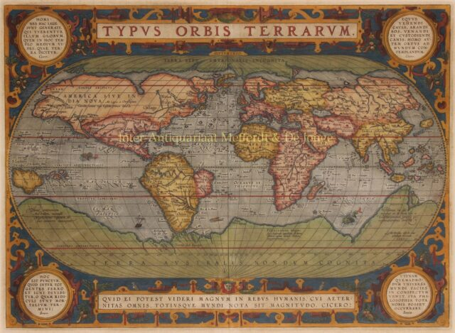 16th century world map by Abraham Ortelius