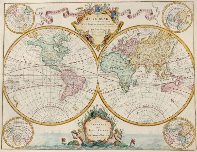 World map – Guillaume De L'Isle (Covens & Mortier), 1745