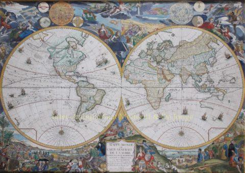Wereldkaart – Louis Charles Desnos naar Nicolas de Fer, 1760