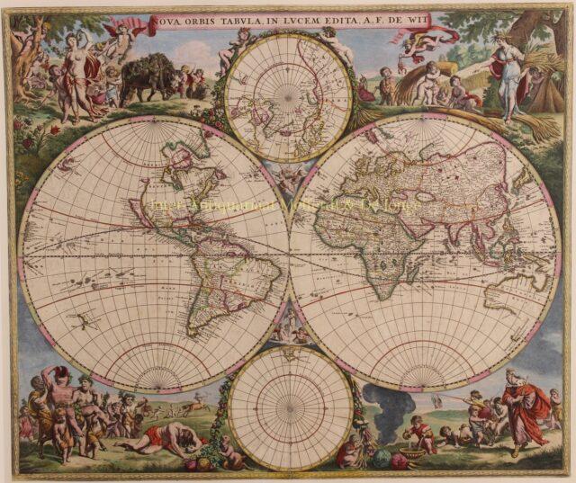 antieke 17e-eeuwse wereldkaart
