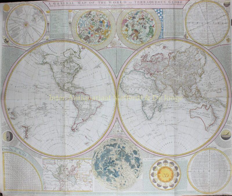 World, rare 18th century wall map