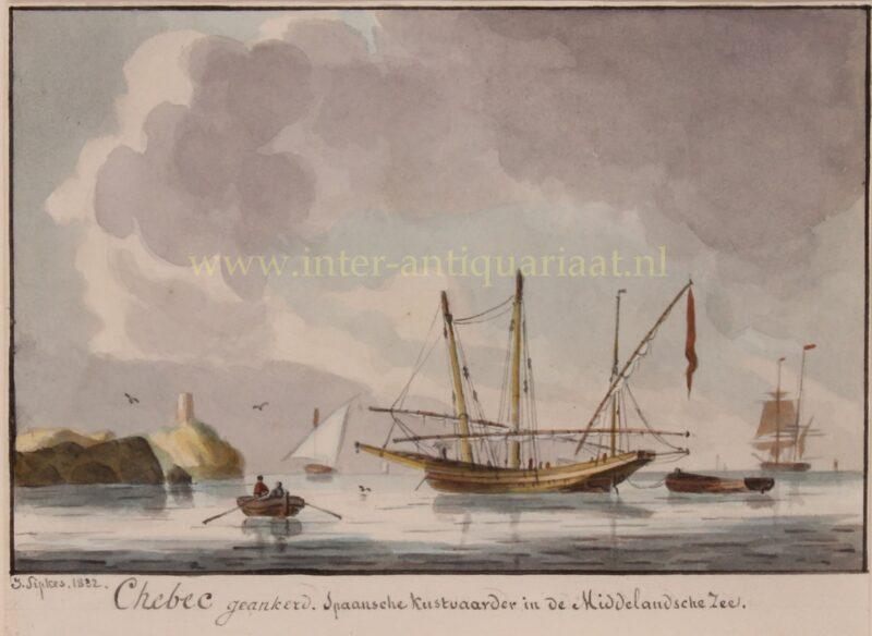 Spaanse xebec (schip) – Joseph Sipkes, 1832