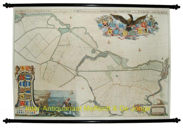 Zeeburg en Diemerdijk - wandkaart Jan Wandelaar