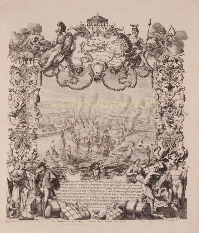 Zeeslag bij Vigo – Johann August Corvinus + Paul Decker, ca. 1720