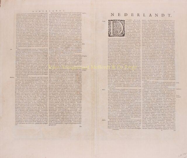 verzo zijde van een antieke kaart van de Zeventien Provincien door Willem Blaeu