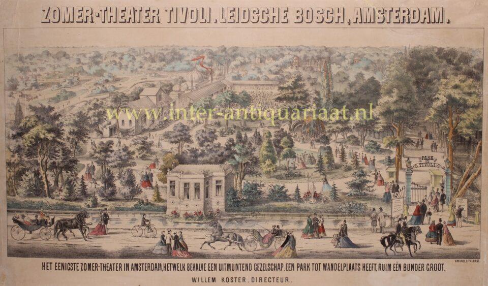 lithografie Tivoli Amsterdam 19e-eeuw