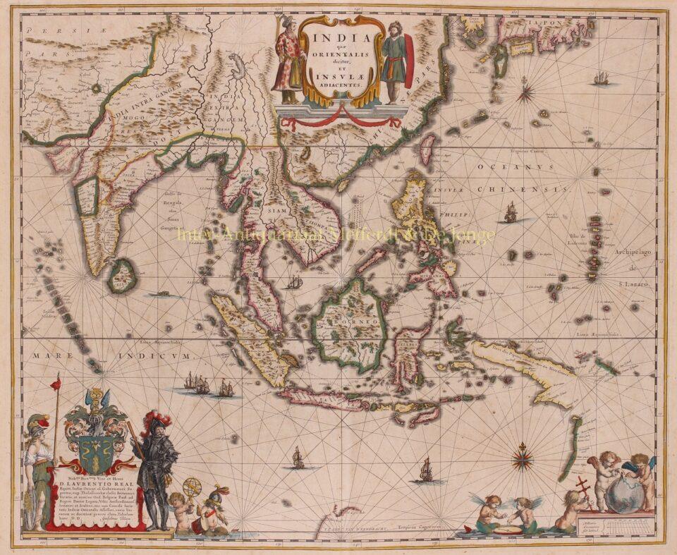 17e-eeuwse kaart van Zuidoost-Azië door WIllem Blaeu