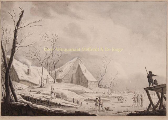 18e-eeuws wintergezicht aquarel