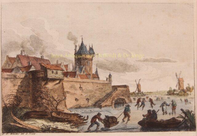 winterlandschap originele 18e-eeuwse ets