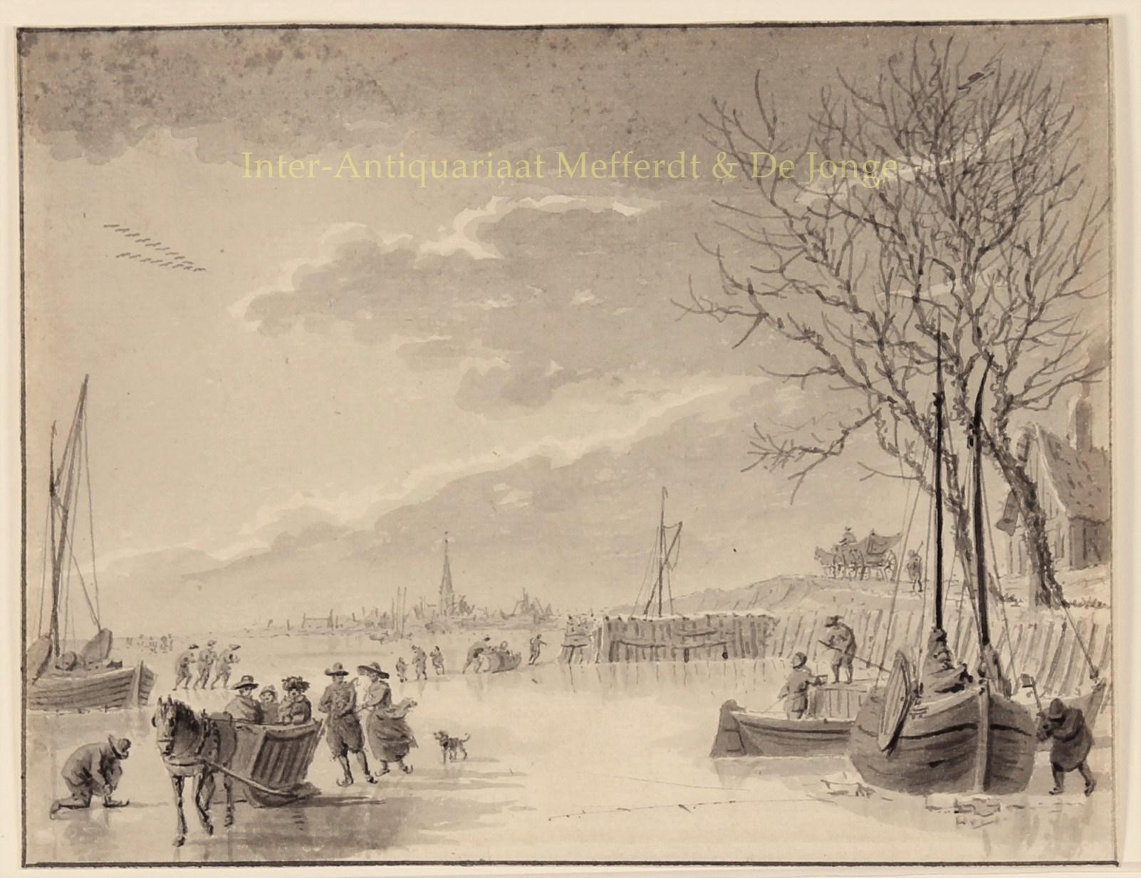 Hollands Winterlandschap Schaatsen Originele Tekening 1800