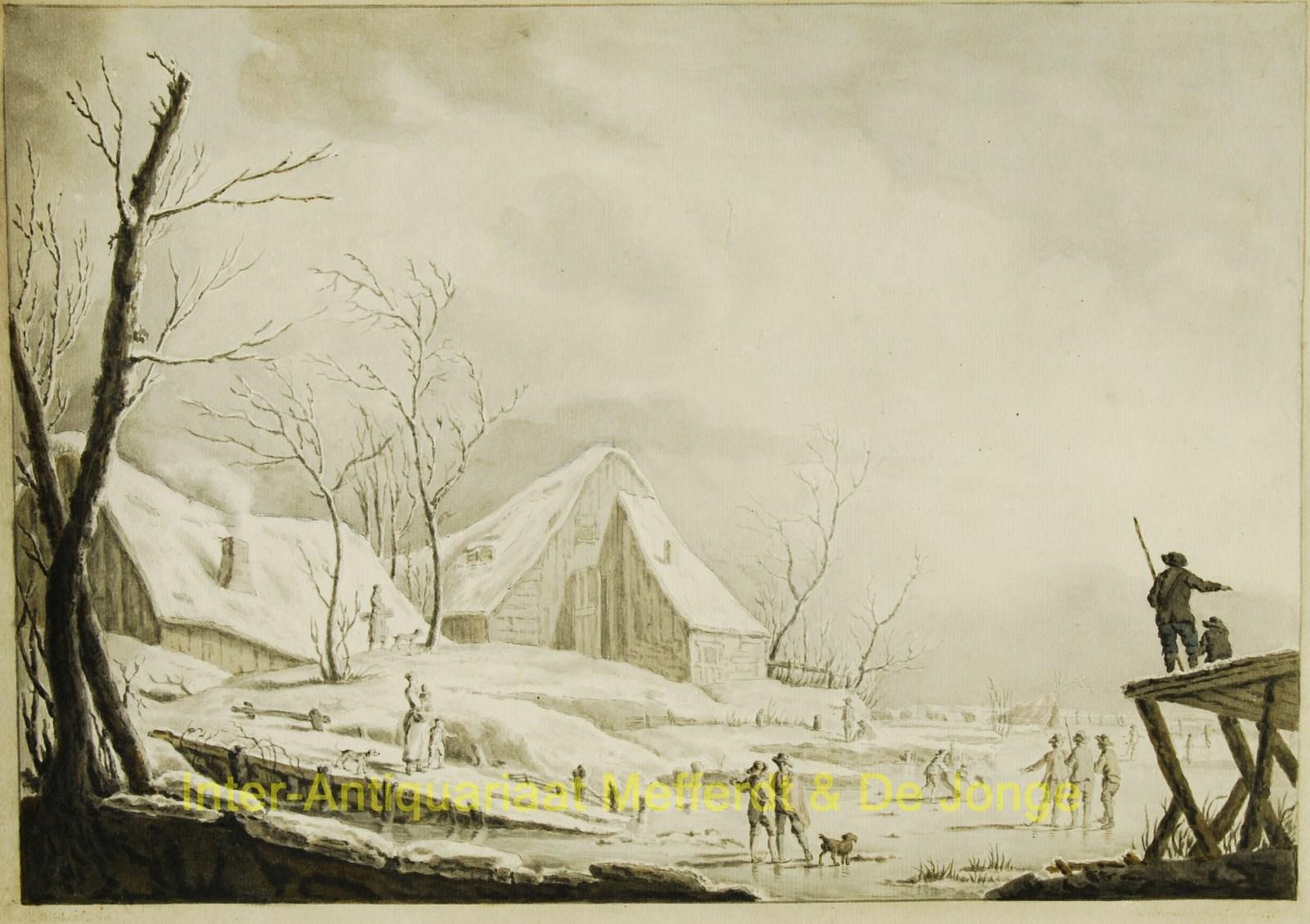 Winterlandschap Antieke Tekening Naar Pillement 1776