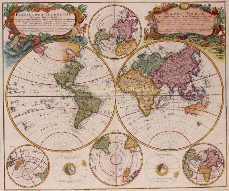 Wereld kaart – Erven Homann, 1746